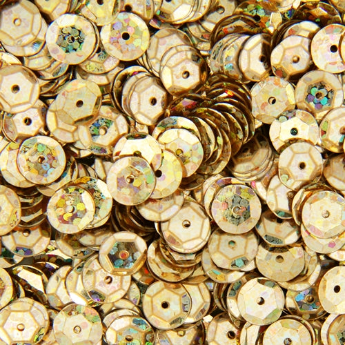 Loose Cup Hologram Sequins - 6mm - Gold - 5 Gross - Threadart.com