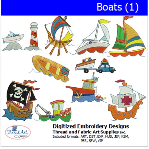 Machine Embroidery Designs - Boats(1) - Threadart.com