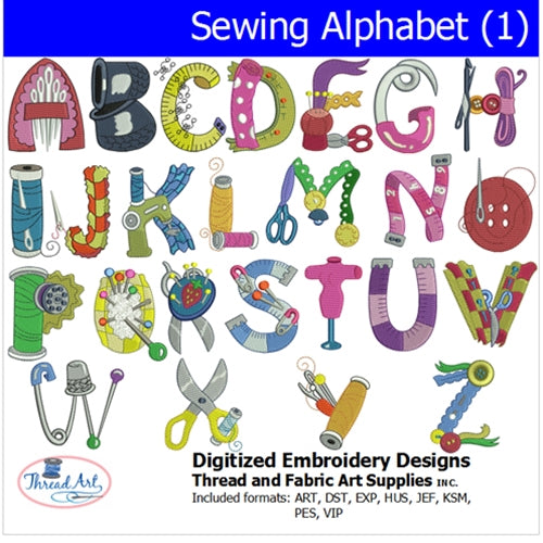 Machine Embroidery Designs -Sewing Alphabet (1) - Threadart.com
