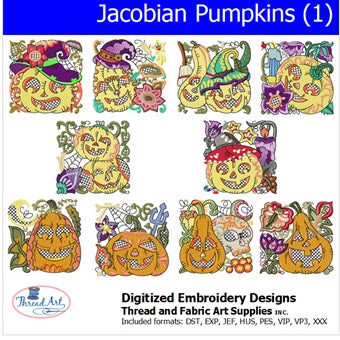 Machine Embroidery Designs - Jacobean Pumpkins (1) - Threadart.com