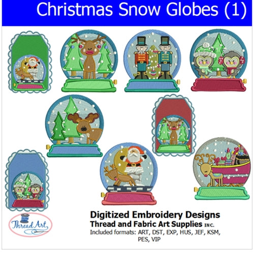 Machine Embroidery Designs - Christmas Snow Globes (1) - Threadart.com
