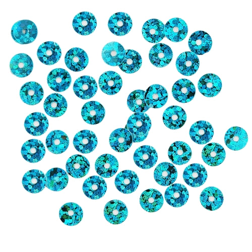 HotFix Loose Sequins - 6MM Turquoise Hologram - Threadart.com
