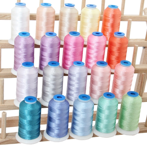 20 Colors of Polyester Embroidery Thread Set - Light Colors - Threadart.com