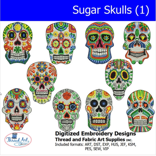 Machine Embroidery Designs - Sugar Skulls(1) - Threadart.com