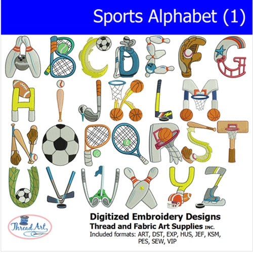 Machine Embroidery Designs - Sports Alphabet 1 - Threadart.com