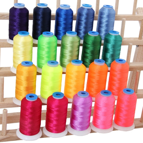 20 Colors of Polyester Embroidery Thread Set - Neon Bright Colors - Threadart.com