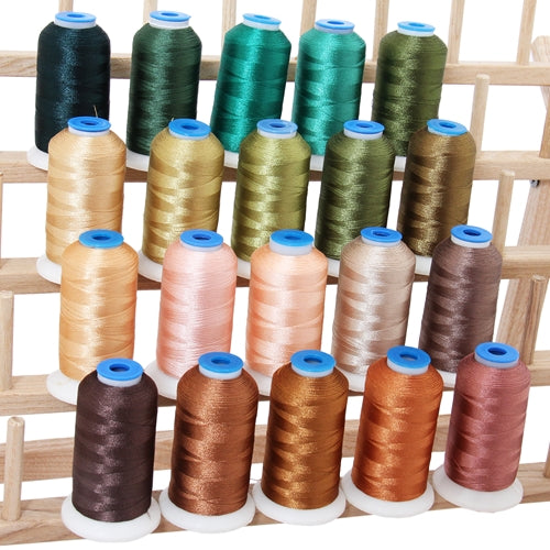 20 Colors of Polyester Embroidery Thread Set - Nature Colors - Threadart.com