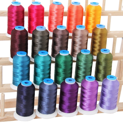 20 Colors of Polyester Embroidery Thread Set - Dark Colors - Threadart.com