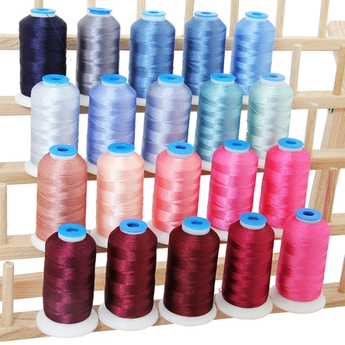 20 Colors of Polyester Embroidery Thread Set  - Pink & Blue Colors - Threadart.com