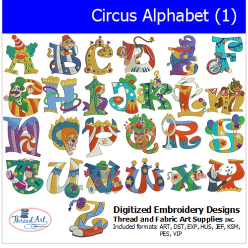 Machine Embroidery Designs - Circus Alphabet (1) - Threadart.com