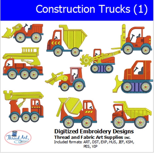 Machine Embroidery Designs - Construction Trucks(1) - Threadart.com