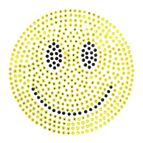 Hot Fix Rhinestone Heat Transfer Motif Emoji Smile - Threadart.com