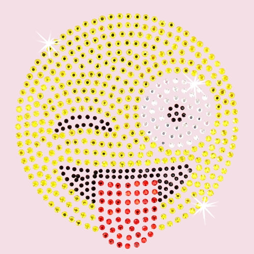 Hot Fix Rhinestone Heat Transfer Motif Emoji Tongue Sticking Out - Threadart.com