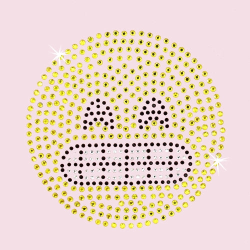 Hot Fix Rhinestone Heat Transfer Motif Emoji Grin - Threadart.com