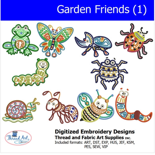 Machine Embroidery Designs - Garden Friends (1) - Threadart.com