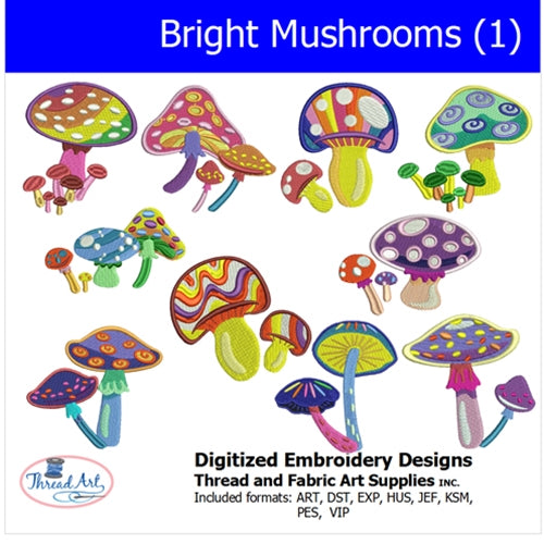Machine Embroidery Designs - Bright Mushrooms (1)