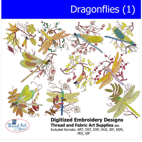 Machine Embroidery Designs - Dragonflies(1) - Threadart.com