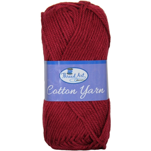 Crochet Cotton Yarn - #4 - Burgundy - 50 gram skeins - 85 yds - Threadart.com