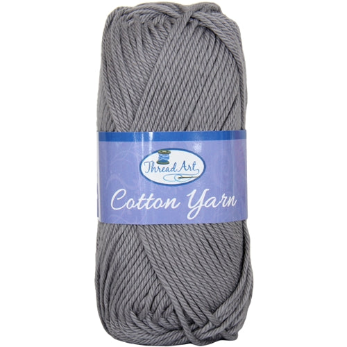 Crochet Cotton Yarn - #4 - Grey - 50 gram skeins - 85 yds - Threadart.com