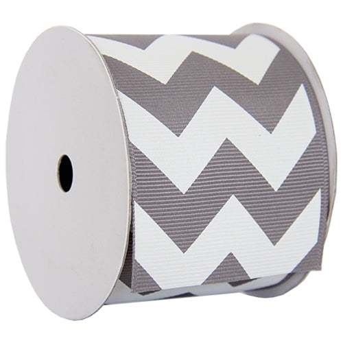 "Grosgrain Chevron Ribbon 2 1/4"" - 5 Yards - Grey - Threadart.com"