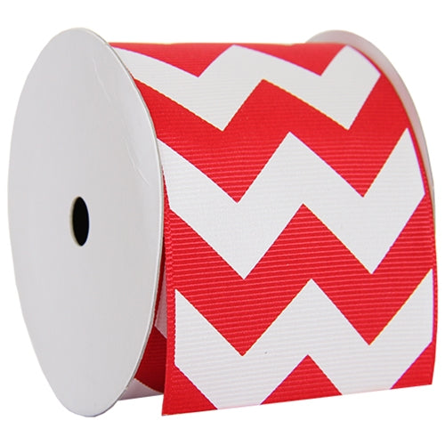 "Grosgrain Chevron Ribbon 2 1/4"" - 5 Yards - Red - Threadart.com"