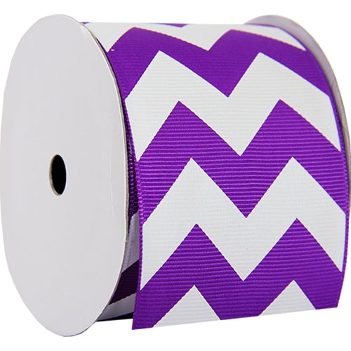 "Grosgrain Chevron Ribbon 2 1/4"" - 5 Yards - Purple - Threadart.com"