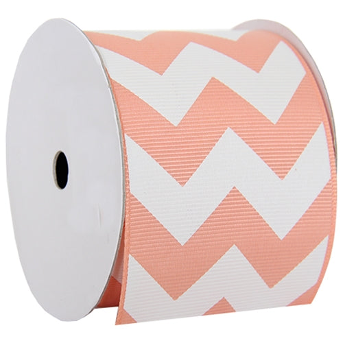 "Grosgrain Chevron Ribbon 2 1/4"" - 5 Yards - Peach - Threadart.com"
