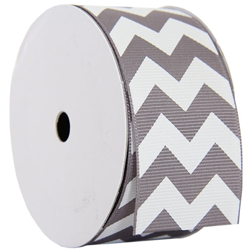 "Grosgrain Chevron Ribbon 1 1/2"" - 5 Yards - Grey - Threadart.com"