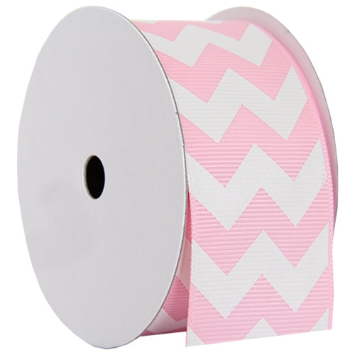 "Grosgrain Chevron Ribbon 1 1/2"" - 5 Yards - Pink - Threadart.com"
