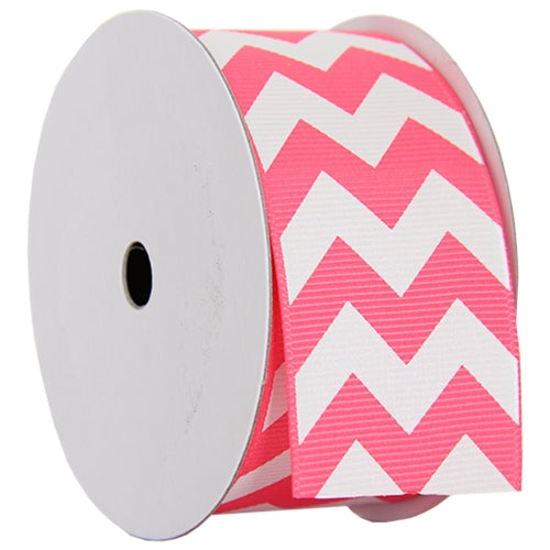 "Grosgrain Chevron Ribbon 1 1/2"" - 5 Yards - Hot Pink - Threadart.com"
