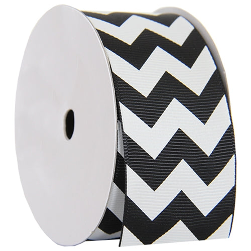 "Grosgrain Chevron Ribbon 1 1/2"" - 5 Yards - Black - Threadart.com"
