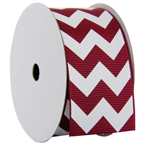 "Grosgrain Chevron Ribbon 1 1/2"" - 5 Yards - Burgundy - Threadart.com"