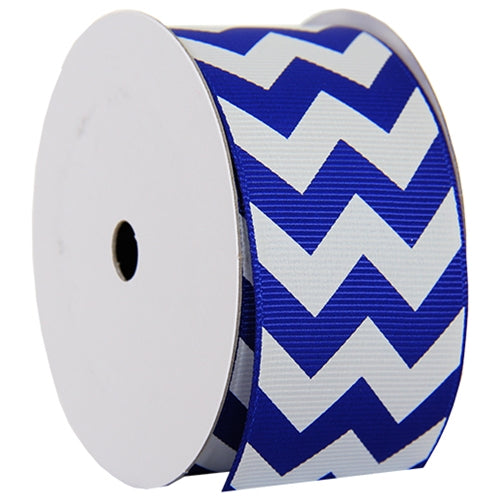"Grosgrain Chevron Ribbon 1 1/2"" - 5 Yards - Blue - Threadart.com"