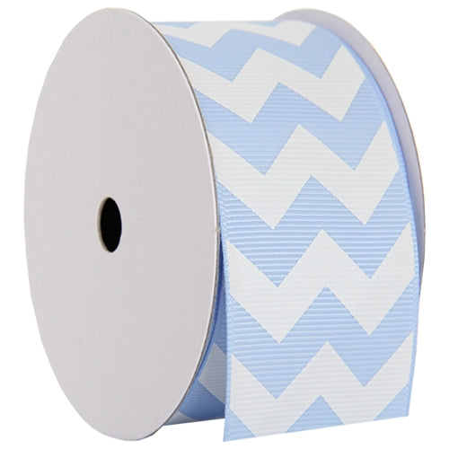 "Grosgrain Chevron Ribbon 1 1/2"" - 5 Yards - Baby Blue - Threadart.com"