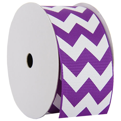 "Grosgrain Chevron Ribbon 1 1/2"" - 5 Yards - Purple - Threadart.com"
