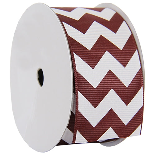 "Grosgrain Chevron Ribbon 1 1/2"" - 5 Yards - Chocolate - Threadart.com"