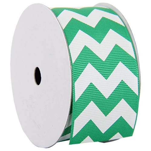 "Grosgrain Chevron Ribbon 1 1/2"" - 5 Yards - Green - Threadart.com"