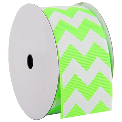 "Grosgrain Chevron Ribbon 1 1/2"" - 5 Yards - Neon Green - Threadart.com"