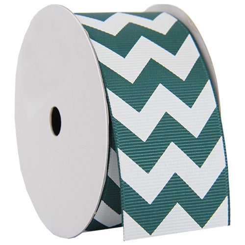 "Grosgrain Chevron Ribbon 1 1/2"" - 5 Yards - Forest Green - Threadart.com"