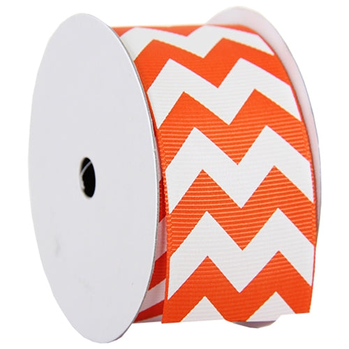 "Grosgrain Chevron Ribbon 1 1/2"" - 5 Yards - Orange - Threadart.com"