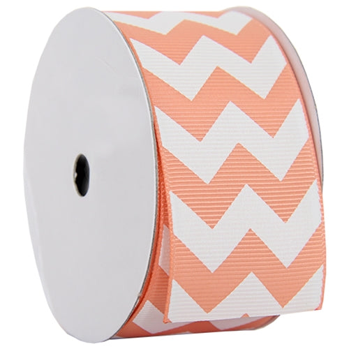 "Grosgrain Chevron Ribbon 1 1/2"" - 5 Yards - Peach - Threadart.com"