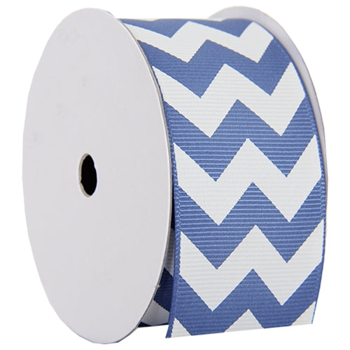"Grosgrain Chevron Ribbon 1 1/2"" - 5 Yards - Country Blue - Threadart.com"
