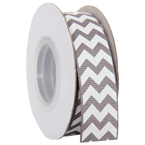 "Grosgrain Chevron Ribbon 7/8"" - 10 Yards - Grey - Threadart.com"