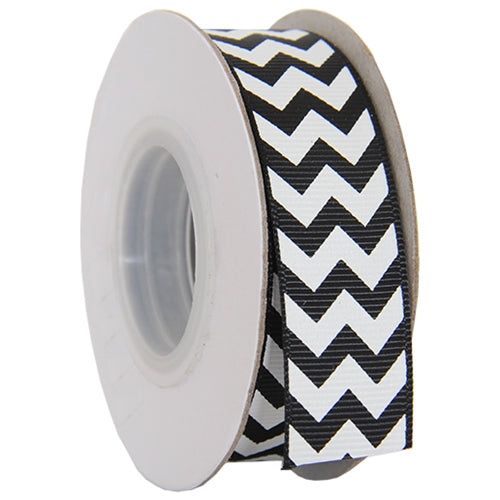"Grosgrain Chevron Ribbon 7/8"" - 10 Yards - Black - Threadart.com"