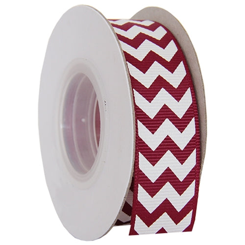 "Grosgrain Chevron Ribbon 7/8"" - 10 Yards - Burgundy - Threadart.com"