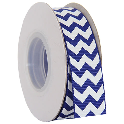 "Grosgrain Chevron Ribbon 7/8"" - 10 Yards - Blue - Threadart.com"
