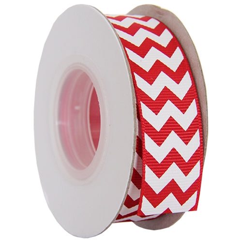 "Grosgrain Chevron Ribbon 7/8"" - 10 Yards - Red - Threadart.com"