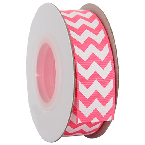 "Grosgrain Chevron Ribbon 7/8"" - 10 Yards - Hot Pink - Threadart.com"