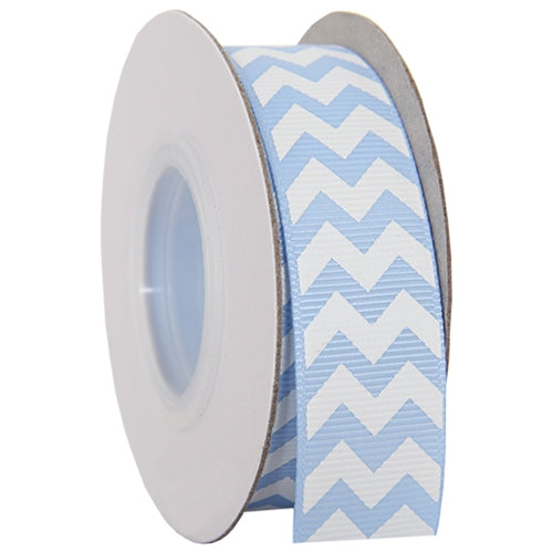"Grosgrain Chevron Ribbon 7/8"" - 10 Yards - Baby Blue - Threadart.com"