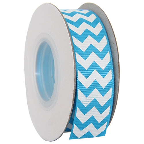 "Grosgrain Chevron Ribbon 7/8"" - 10 Yards - Aqua - Threadart.com"